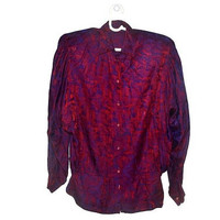 80s Burgundy Purple Batwing Blouse Womens Vintage Button Up  Formal Top Large L