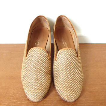 Stubbs and Wootton Panama luggage tan slipper flats - Size 9 1/2
