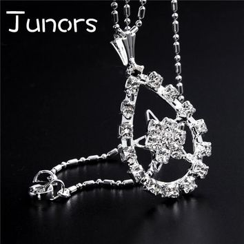 JUNORS Luck Pentagram Silver Star Pendant Necklace Silver chain for women Supernatural Antique oval Simple Necklace