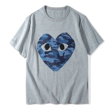 Play Summer Fashion New Bust Camouflage Love Heart Eye Print Women Men Top T-Shirt Gray