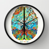 Colorful Brain Art - Just Think - By Sharon Cummings Wall Clock by Sharon Cummings