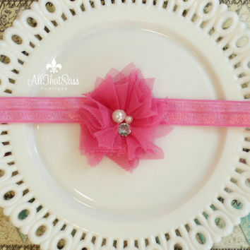 Bright Pink Girl's Shabby Headband  Pearls by AllThatSassBoutique