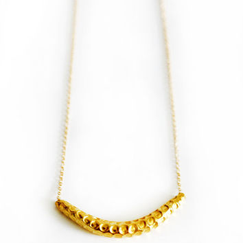 Gold Hammered Bar Necklace by keijewelry on Etsy
