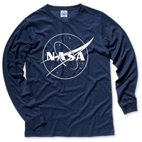 Hank Player 'NASA One Color Logo' Men's Long Sleeve T-Shirt (L, Heather Navy)