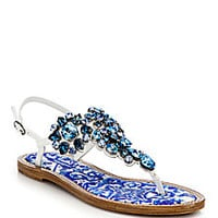 Dolce & Gabbana - Bejeweled Flat Leather Thong Sandals - Saks Fifth Avenue Mobile