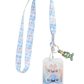 Licensed cool Disney Lilo & Stitch Angel & Scrump Watercolor ID Holder Pin Lanyard W/ Charm