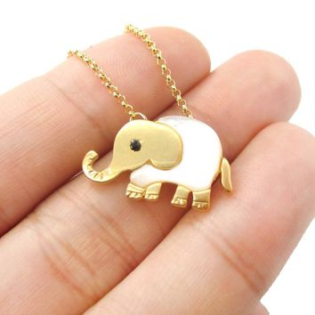 Baby Elephant Shaped Animal Charm Necklace in Gold with Pearl Detail