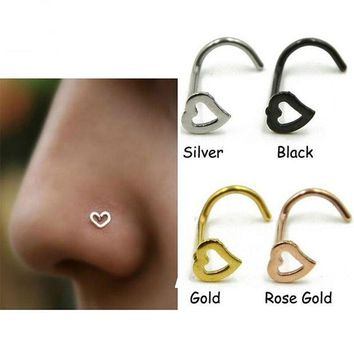 ac PEAPO2Q New Arrival Simple Surgical Steel 0.8mm Heart Nose Studs Septum Nose Hooks Bar Pin Nose Rings Body Piercing Jewelry For Women