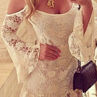 White Spaghetti Strap Long Sleeve Lace Dress