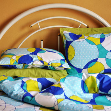 Custom Queen or Full Size Green, Sapphire Blue, Turquoise Blue Circle Print Bedding Set, Green Sheet Set, 6 pieces