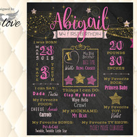 Twinkle Little Star Party | pink and gold | 1st First, 2nd Birthday Chalkboard Stats Poster | Custom Printable | Photo Prop