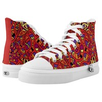 Colorful Organic Pattern High-Top Sneakers