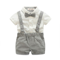 Baby boys Clothing Set (bow tie+white Shirt+short overalls 3pcs/set)