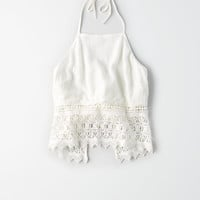 AE Lace Halter Top, Chalk