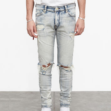 Light Blue Stone Washed Destroyed Denim Jeans