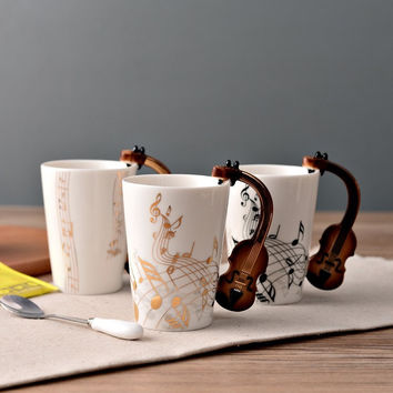 Brand New Novelty Guitar Ceramic Cup Personality Music Note Mug Coffee Tea Cup Water Bottle Unique Gift Home Cafe 220ml