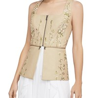 BCBGMAXAZRIAEmbroidered Faux Leather Peplum Top