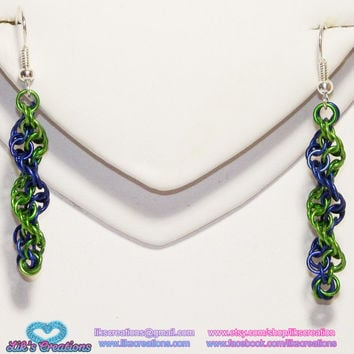 Custom Small DNA Strand Earrings - Choose your colors!