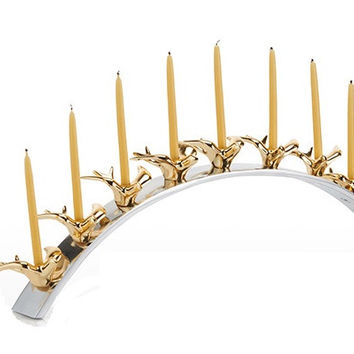 Dove Menorah Gold Plate Silver