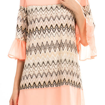 CHEVRON KNIT RUFFLE SLEEVE SHIFT DRESS