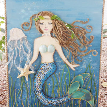 Mermaid Art - Original Beach Decor - Brown Hair - Blue Eyes - Mixed Media Ocean Collage - 16X20 inches