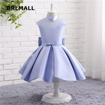 2018 New Arrival Flower Girl Dresses Satin Bow Tea Length High Neck Cap Sleeve Cheap Ball Flower Girl Gowns