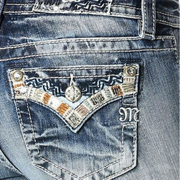 Miss Me Colorful Stitch Bootcut Jeans