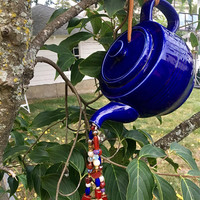 Blue Tea Pot Wind Chime, Repurposed Tea Pot, Upcycled Garden Art, Kitchen Decoration, Sun Catcher, Repurposed Mobile, Ceramic Tea Pot Decor
