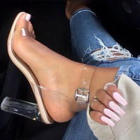 Black Summer Women Sandals PVC Block High Heel Crystal Clear Transparent Sandals Concise Buckle Ankle Strap Pump Wedding Shoes