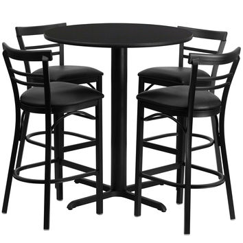 Flash Furniture 24'' Round Black Laminate Table Set with 4 Ladder Back Metal Bar Stools - Black Vinyl Seat [HDBF1033-GG]