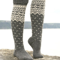 Knee High Boot Socks Hand Knit Norwegian by PurlsandIvy