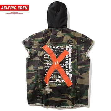 Trendy Aelfric Eden Men Vests Military Biker Sleeveless Jacket Camoufalge Big Letter X Print Denim Jean Hooded Jackets Waistcoats KJ01 AT_94_13