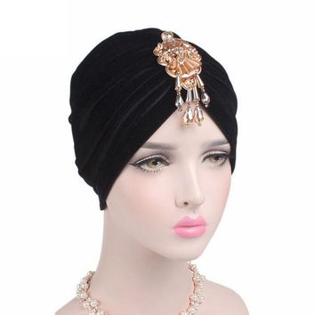Velvet Women Skullies	Cancer Chemo Hat New Arrival Women Beanie Turban Head Beautiful Bead Pendant Wrap Cap