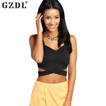 GZDL Novelty Women Lady Plunge Strappy Sleeveless Bustier Bralet Summer Crop Top Blouse Sexy Clubwear Roupas Femininas CL1896