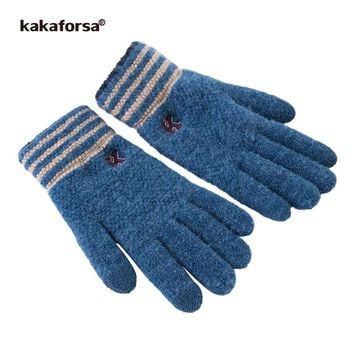 Kakaforsa Men Touchscreen Winter Gloves Thick Knitted Mittens with Striped Opening Fashion High Quality Soft Warm Long Glove