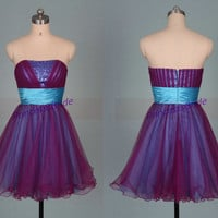 Short purple and blue tulle homecoming dress 2014,cheap women gowns for holiday party,chic cute prom dresses with sequins.