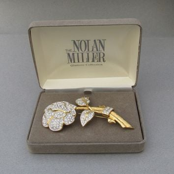 Nolan Miller Vintage 1990's Crystal Pavé Rose Pin Brooch - MINT In Original Box
