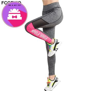 FCCEXIO 2018 Women Pink Letter Print Workout Leggings Women High Waist VS PINK Plus Size Slim Fitness Legging Sporting Legging