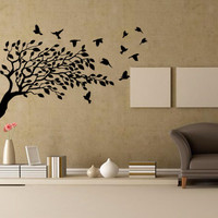 Wall decal decor decals sticker art vnyl design Leaves Plants bird Flower Branch Trees foliage Dorm Bedroom House Fashion (m1253)