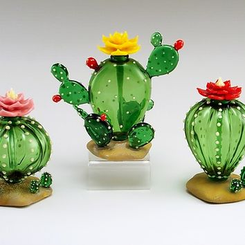 Cactus Perfume Bottle by Garrett Keisling: Art Glass Perfume Bottle | Artful Home