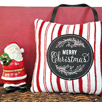 Merry Christmas Door Hanger Pillow Chalkboard Peppermint Stripes Red White Black Rustic Decorative Repurposed Christmas Decor