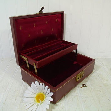 Vintage Mele Style Burgundy Leatherette Jewelry Box with Gold Trim Working Key & Secret Compartment in Dark Burgundy Velvet 2 Level Interior