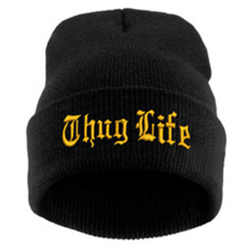 THUG LIFE Letter Embroidered Unisex Beanie Fashion 2pac Hip Hop Mens & Womens Knitted Black & Gold Tupac Cuffed Skully Hat