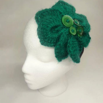 Crochet Big Flower With  Buttons in Elastic Headband     CIJ
