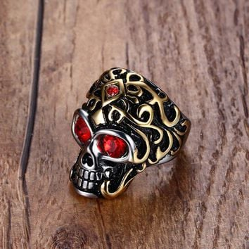 Vintage Mens Rings Red Cubic Zirconia Eyes Floral Skull Ring for Men Bike Rock Punk Stainless Steel Jewelry Anel Aneis Anillos