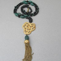 Signed MONET Vintage Gold Tone Celtic Knot Pendant, Green Faux Jade Beads, Long Tassel Necklace