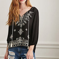 Paisley-Embroidered Peasant Top