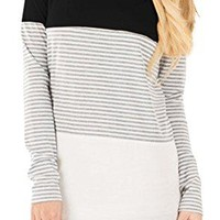 Women's Long Sleeve Color Block Knits Tunics