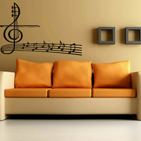 Wall Art Vinyl Sticker Decal Design Decor Mural Music Note Key Violin Fiddle Beautiful 1125