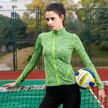2018 Women's Yoga Shirts Long Sleeve Zipper Sport Tops Fitness Sportswear Quick Dry Breathable Tracksuit Solid Color